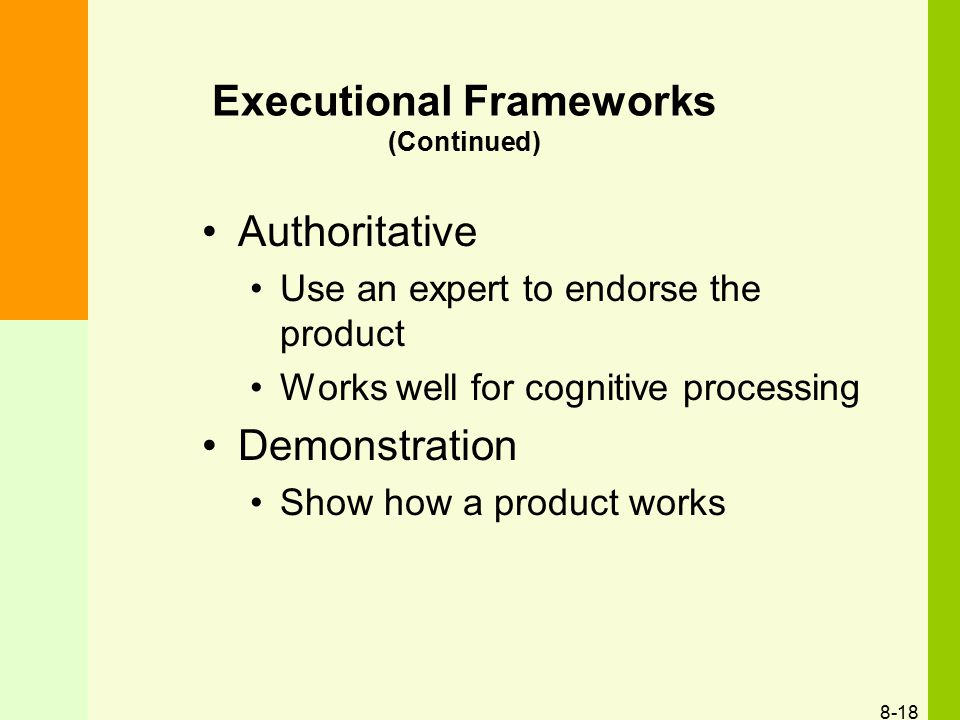 Executional Frameworks (Continued)