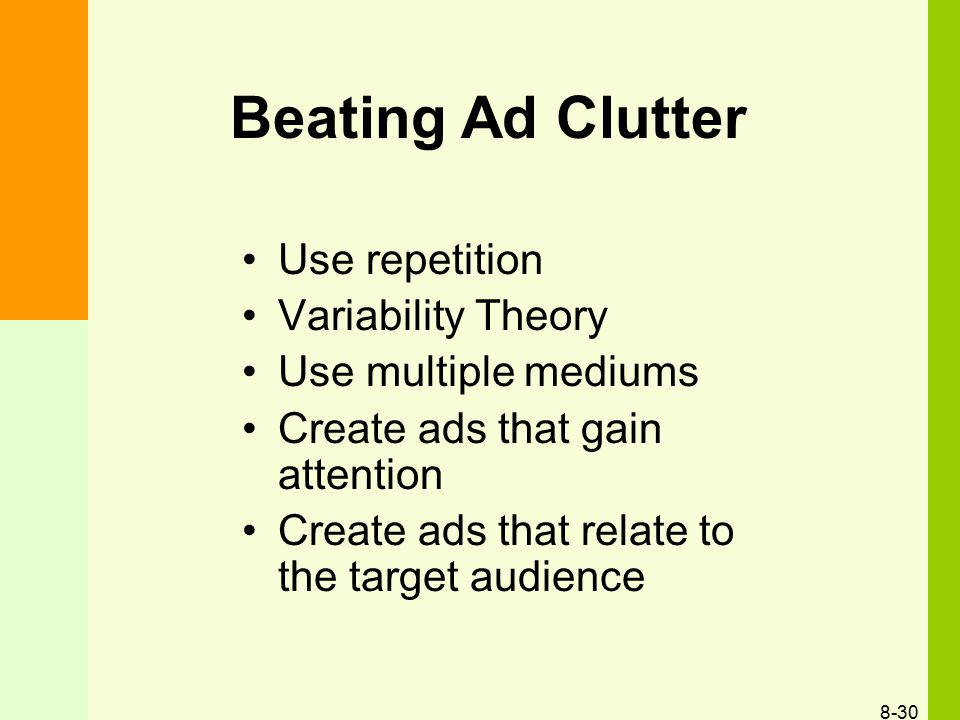 Beating Ad Clutter Use repetition Variability Theory