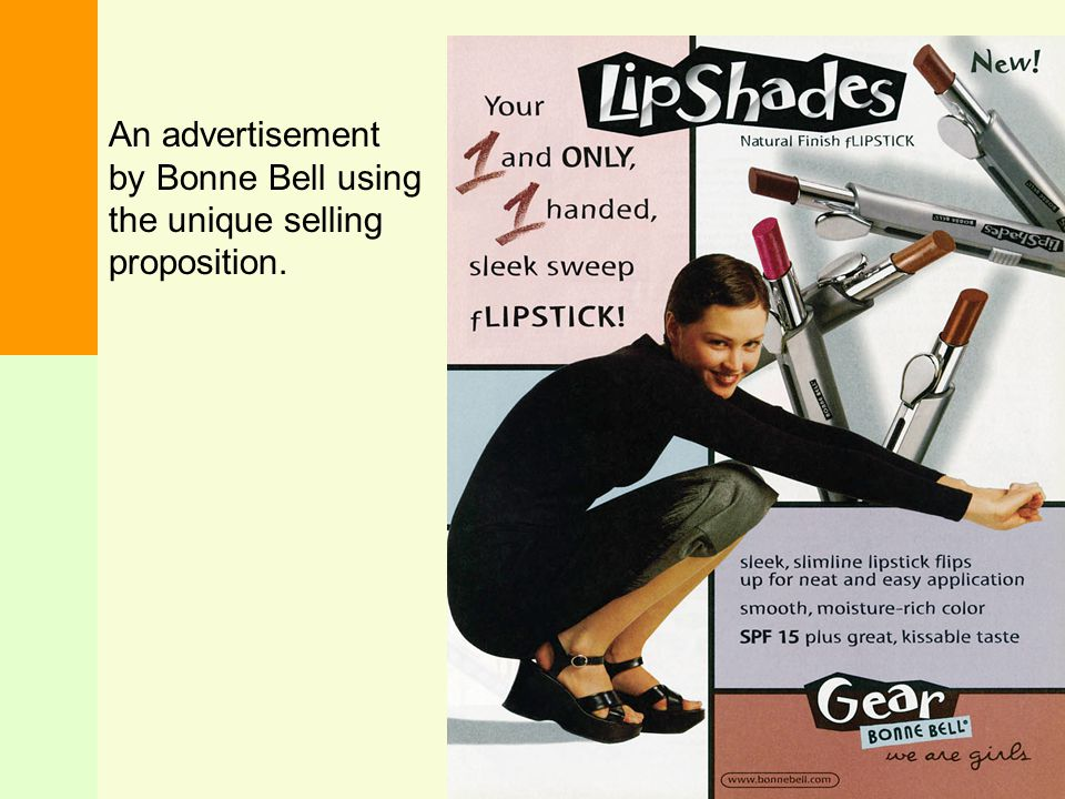An advertisement by Bonne Bell using the unique selling proposition.