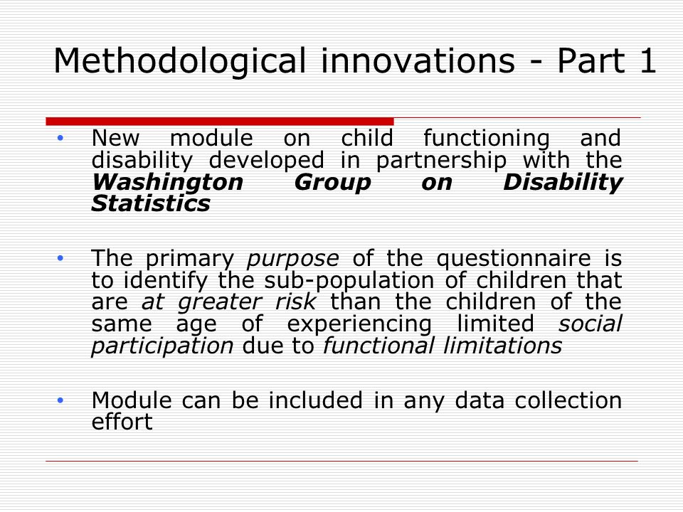 Methodological innovations - Part 1