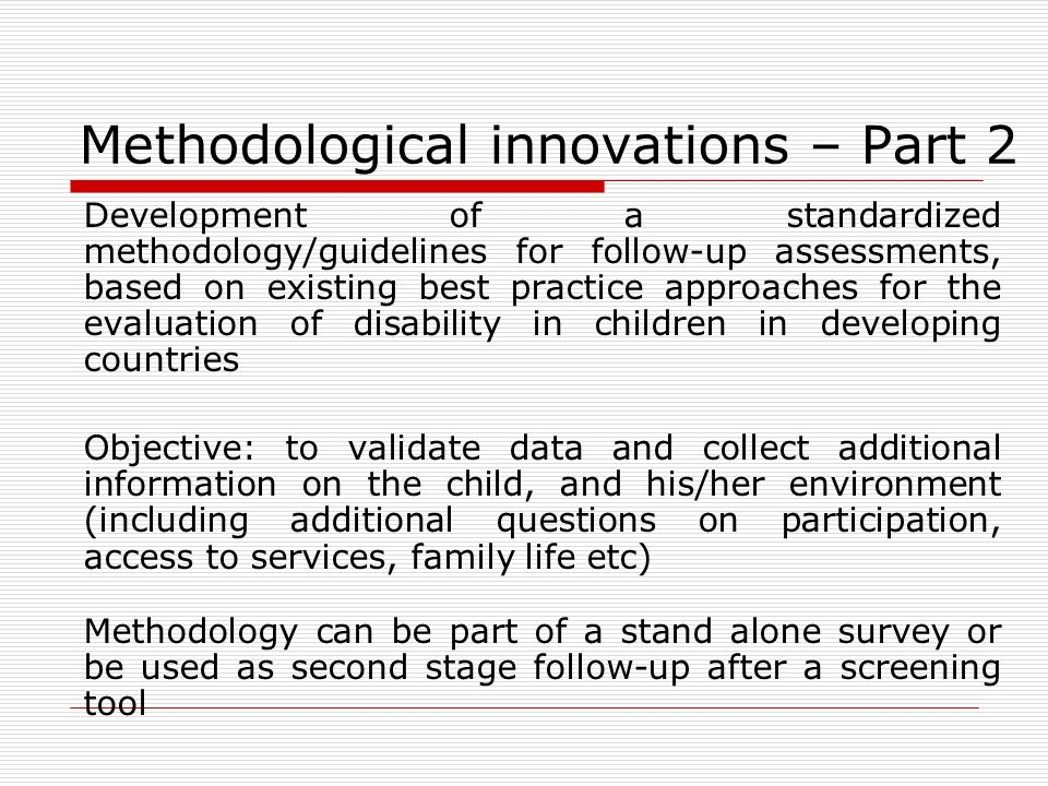 Methodological innovations – Part 2