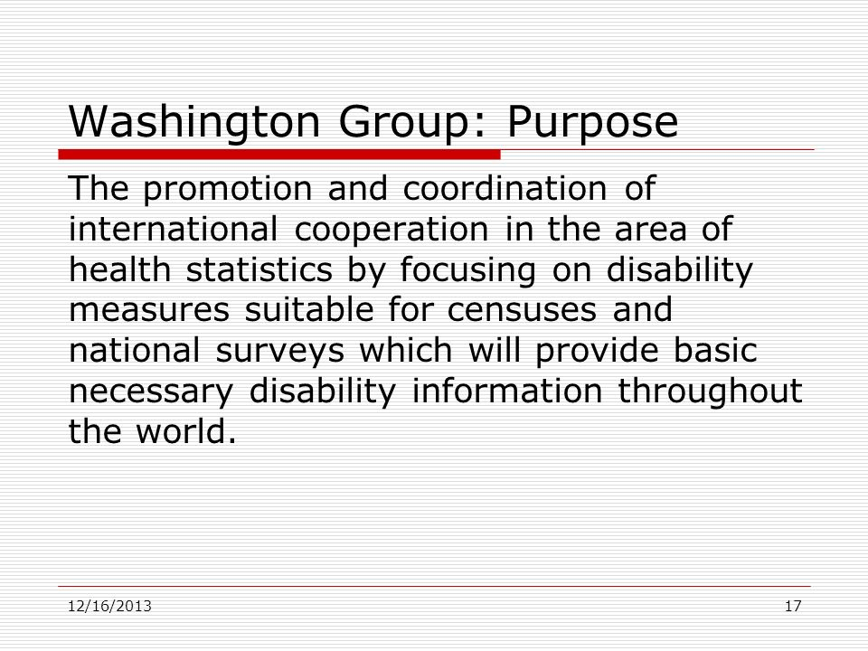 Washington Group: Purpose