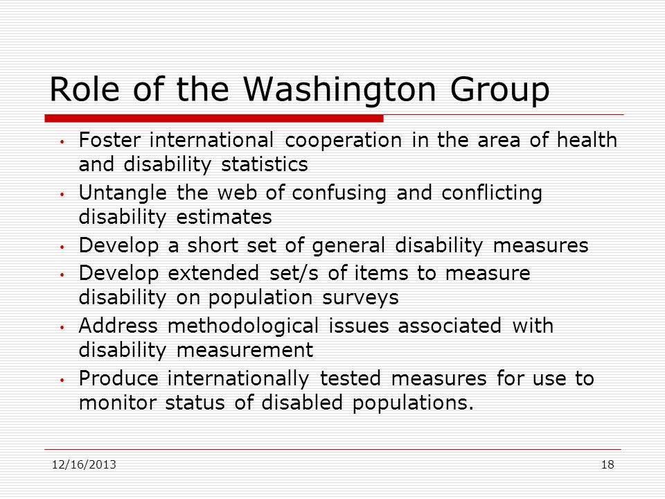 Role of the Washington Group