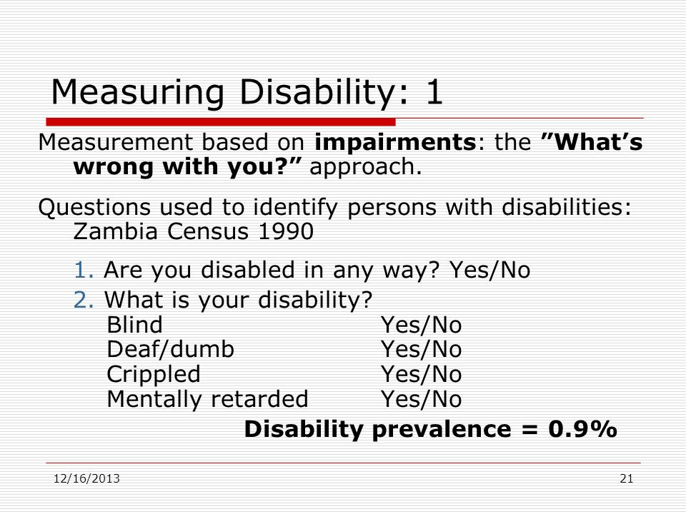 Measuring Disability: 1
