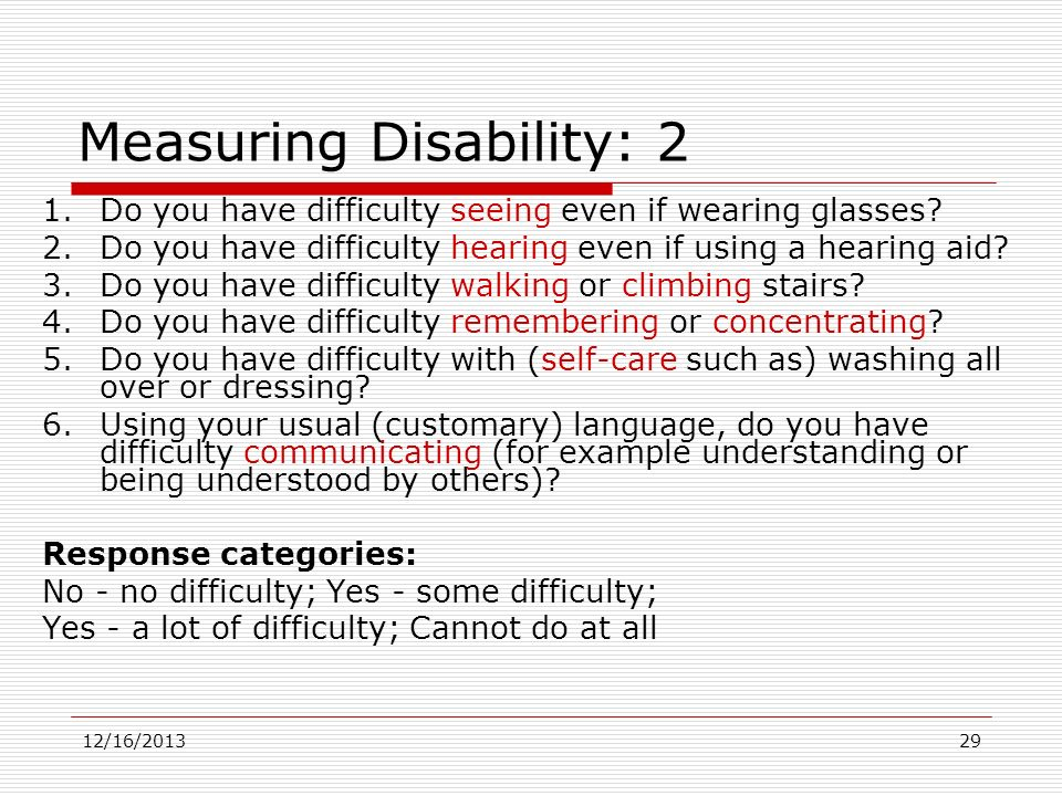 Measuring Disability: 2