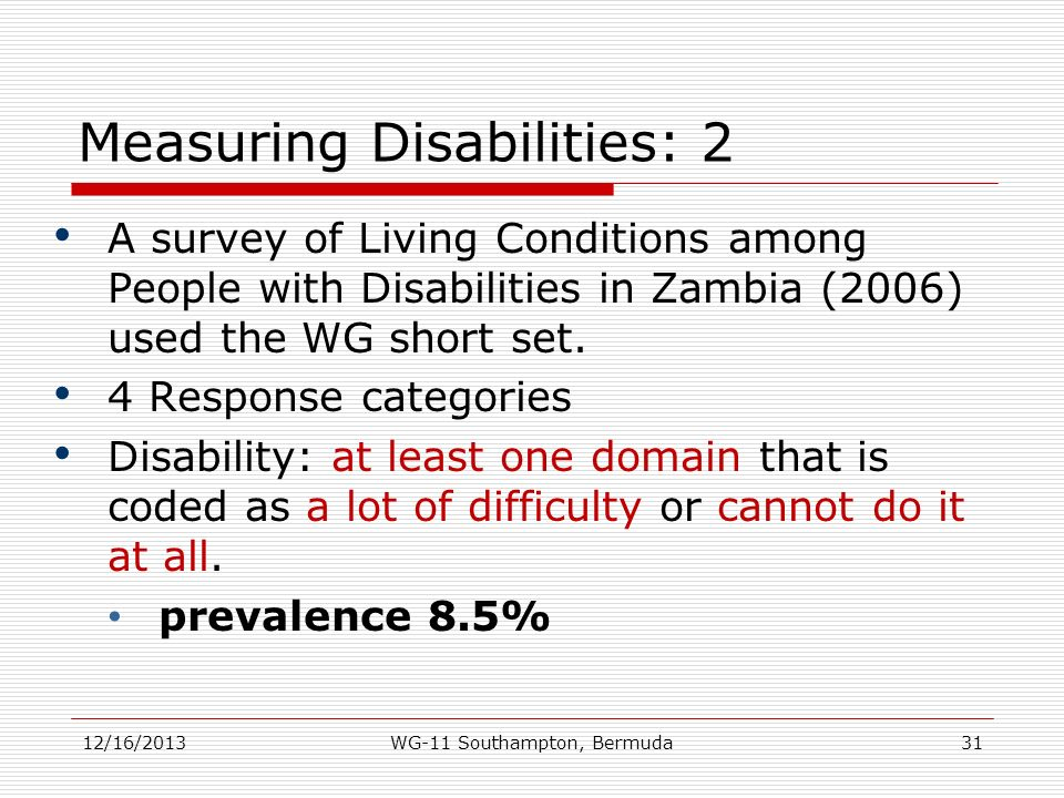 Measuring Disabilities: 2