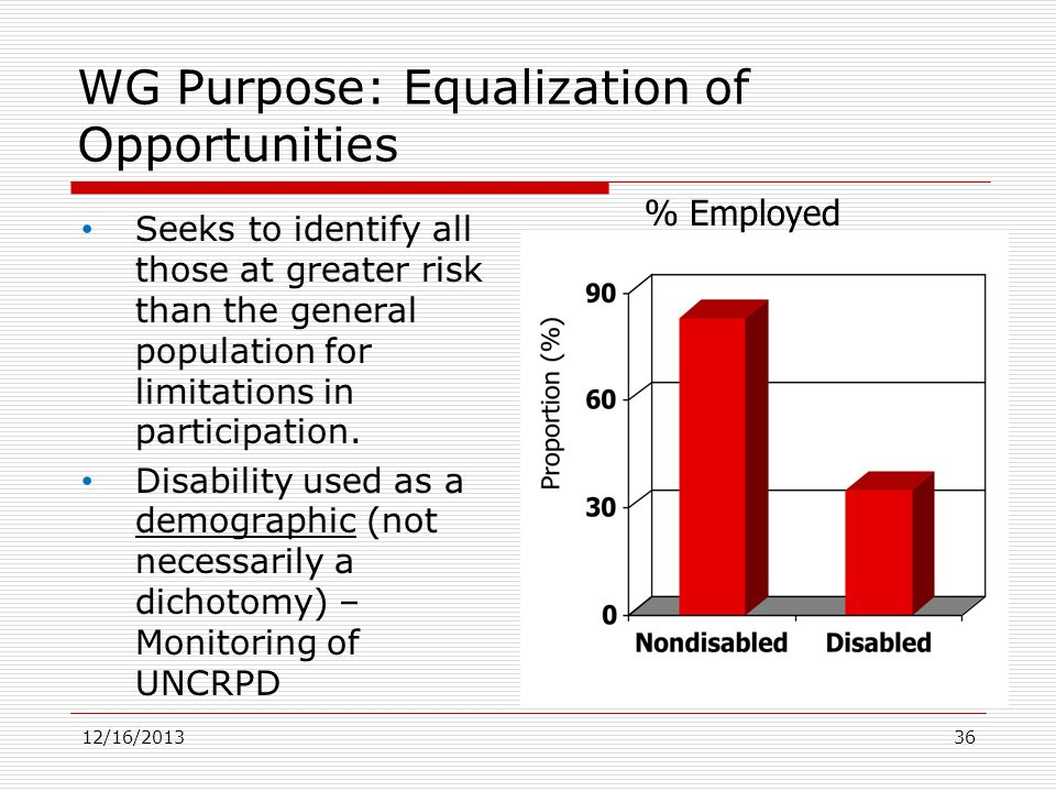 WG Purpose: Equalization of Opportunities