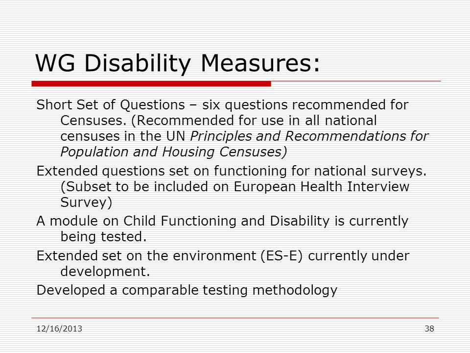 WG Disability Measures:
