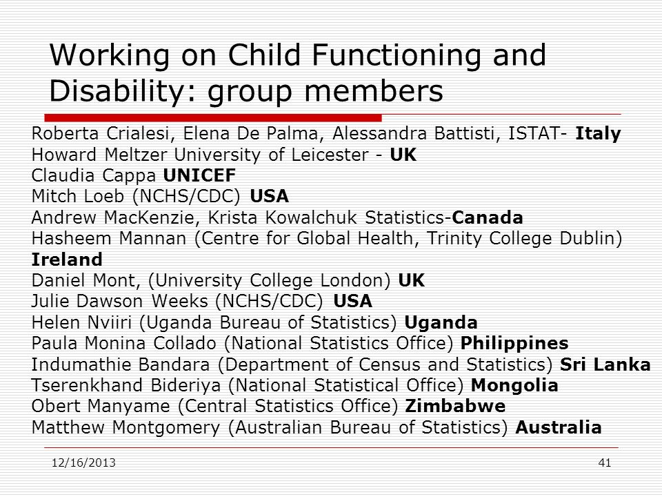 Working on Child Functioning and Disability: group members