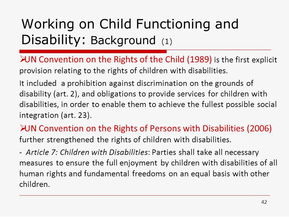 Working on Child Functioning and Disability: Background (1)