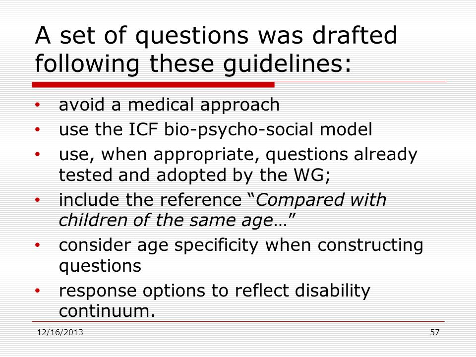 A set of questions was drafted following these guidelines:
