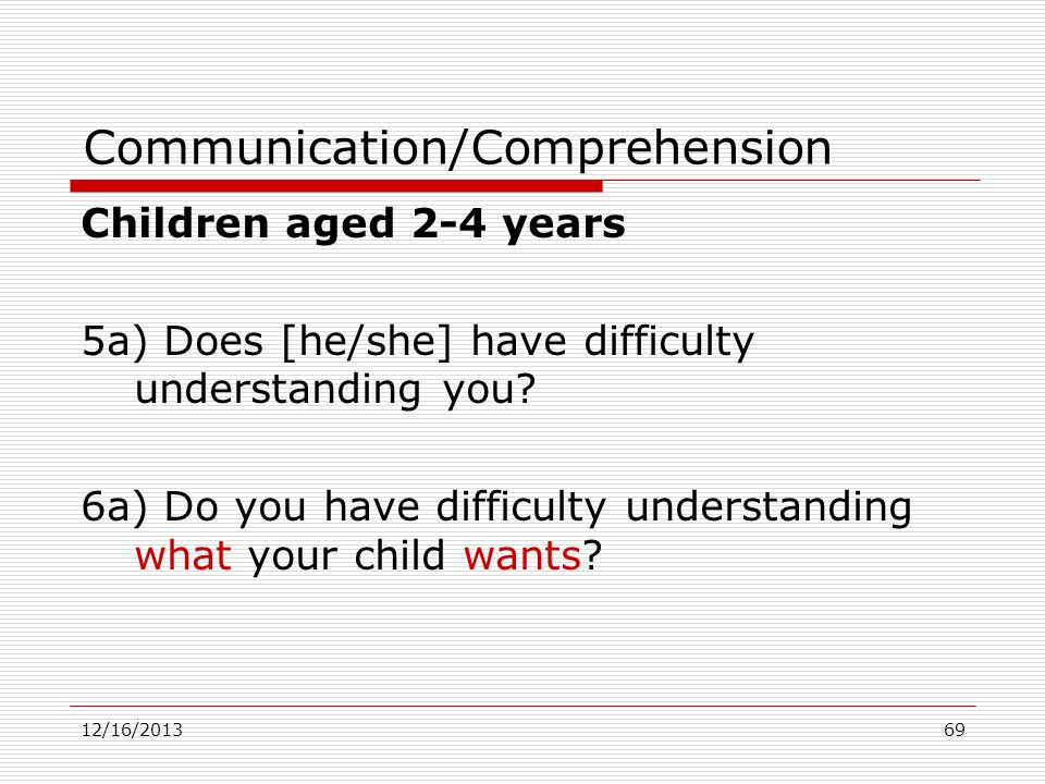 Communication/Comprehension
