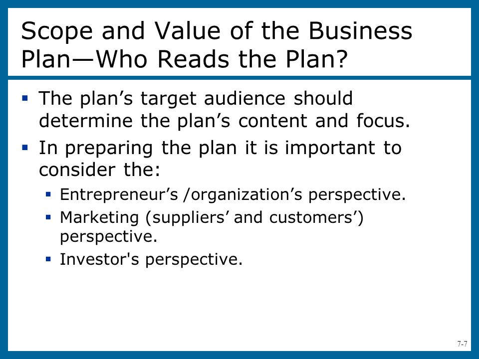 how to write a scope of a business plan