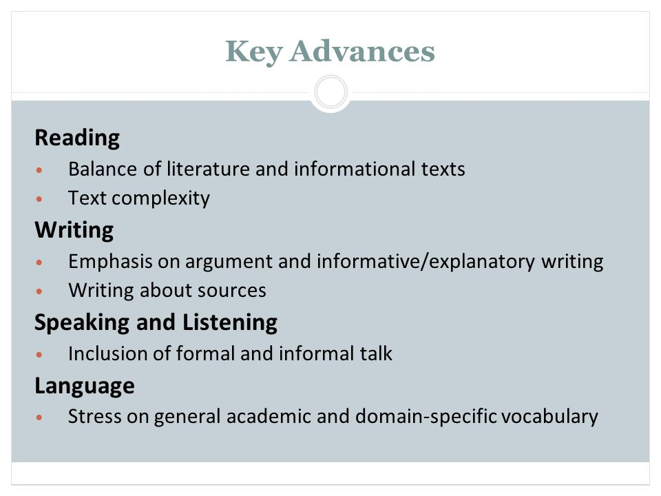 Key Advances Reading Writing Speaking and Listening Language