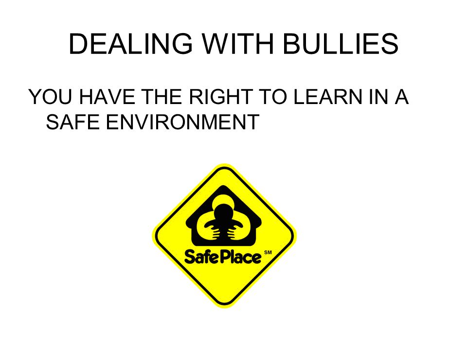 DEALING WITH BULLIES YOU HAVE THE RIGHT TO LEARN IN A SAFE ENVIRONMENT