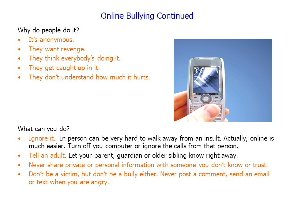 Online Bullying Continued
