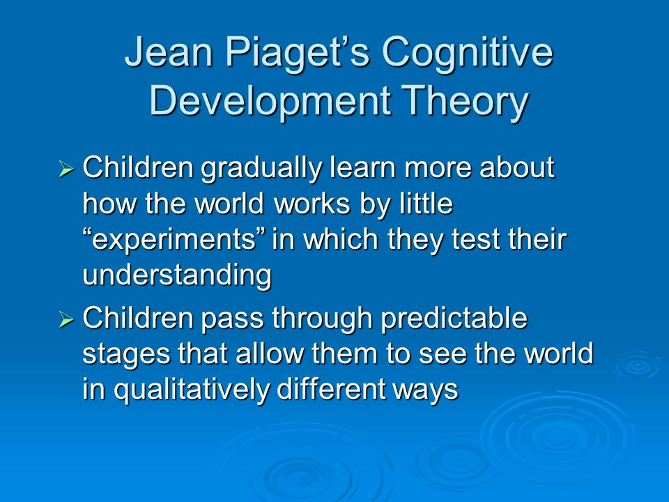 Jean Piaget's Cognitive Development Theory