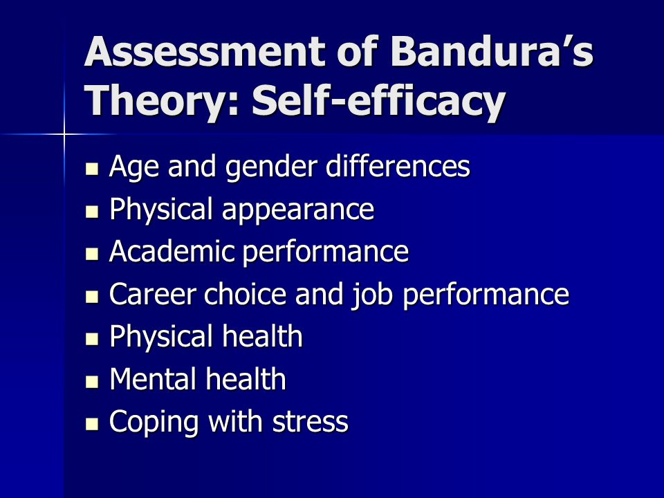 Assessment of Bandura's Theory: Self-efficacy