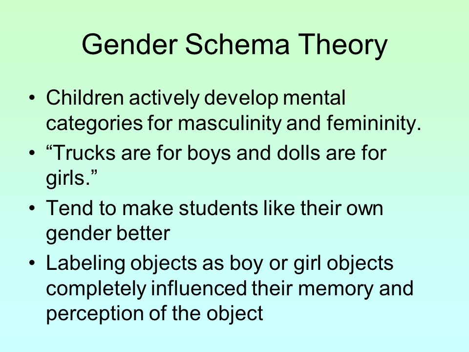 Gender Schema Theory Children actively develop mental categories for masculinity and femininity. Trucks are for boys and dolls are for girls.