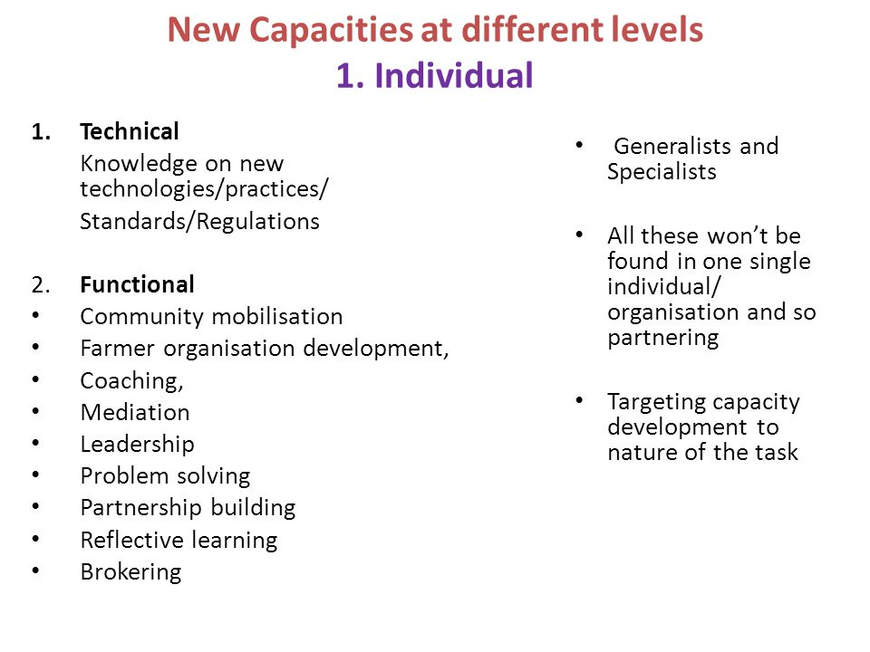 New Capacities at different levels 1. Individual