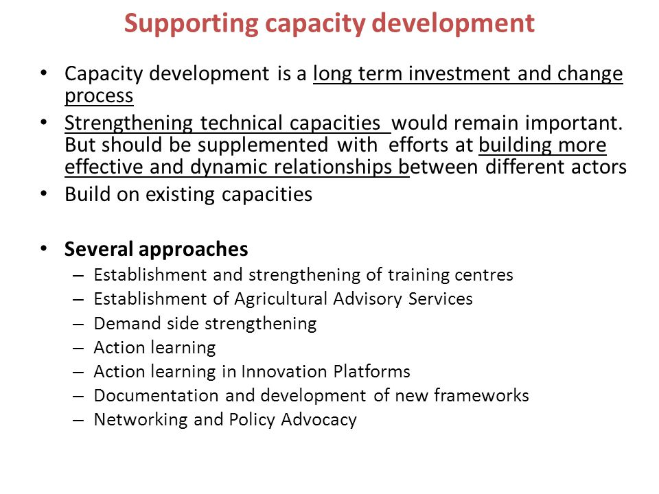 Supporting capacity development