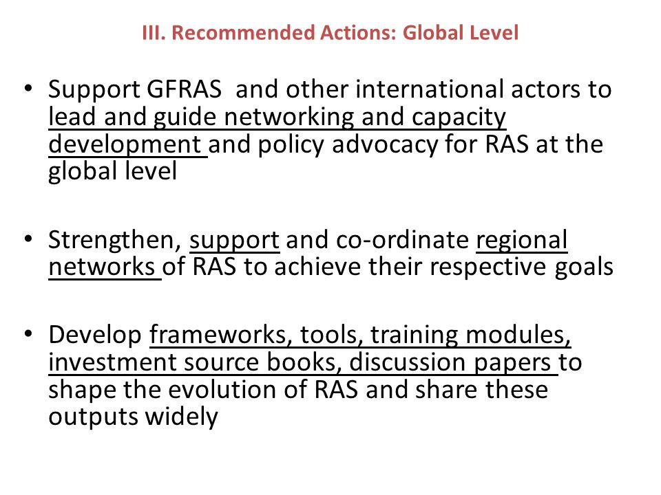 III. Recommended Actions: Global Level