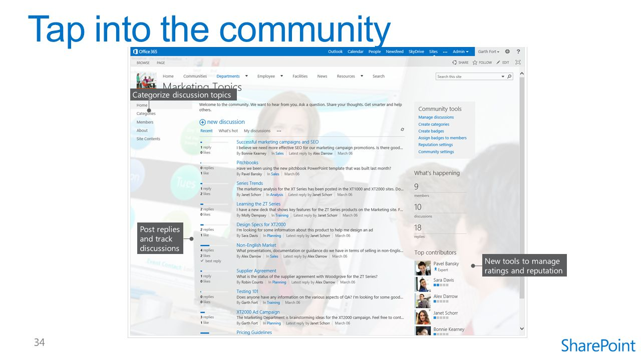 Tap into the community Categorize discussion topics