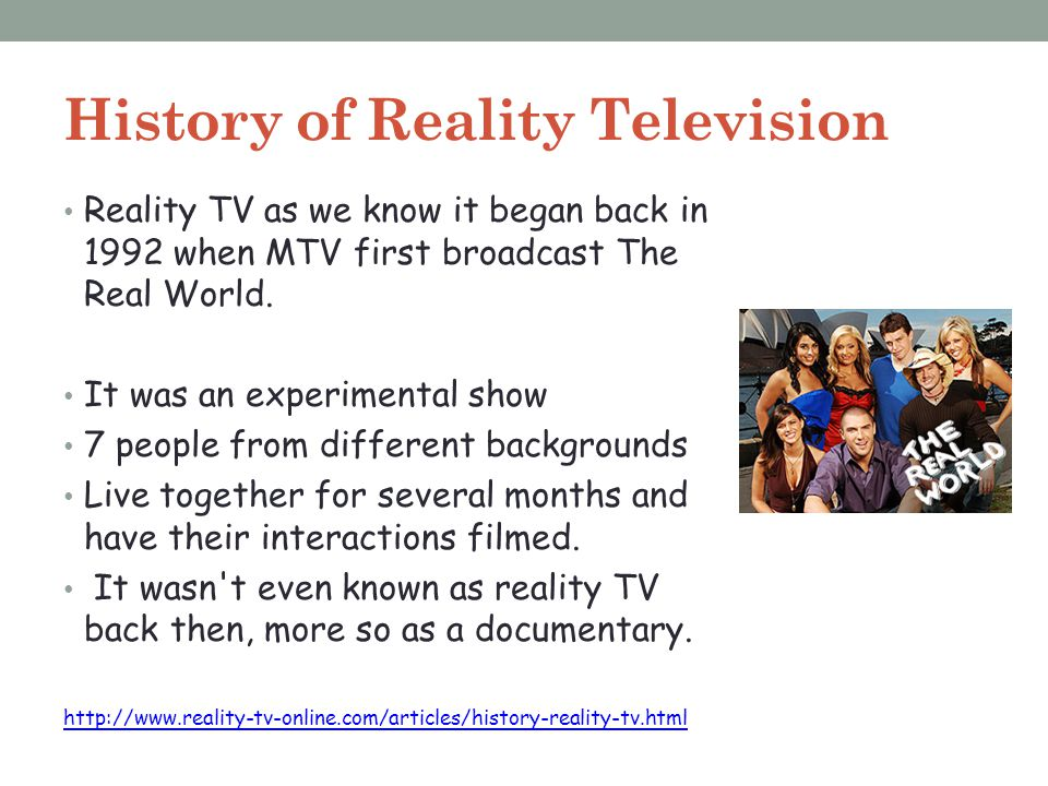 history of reality tv shows