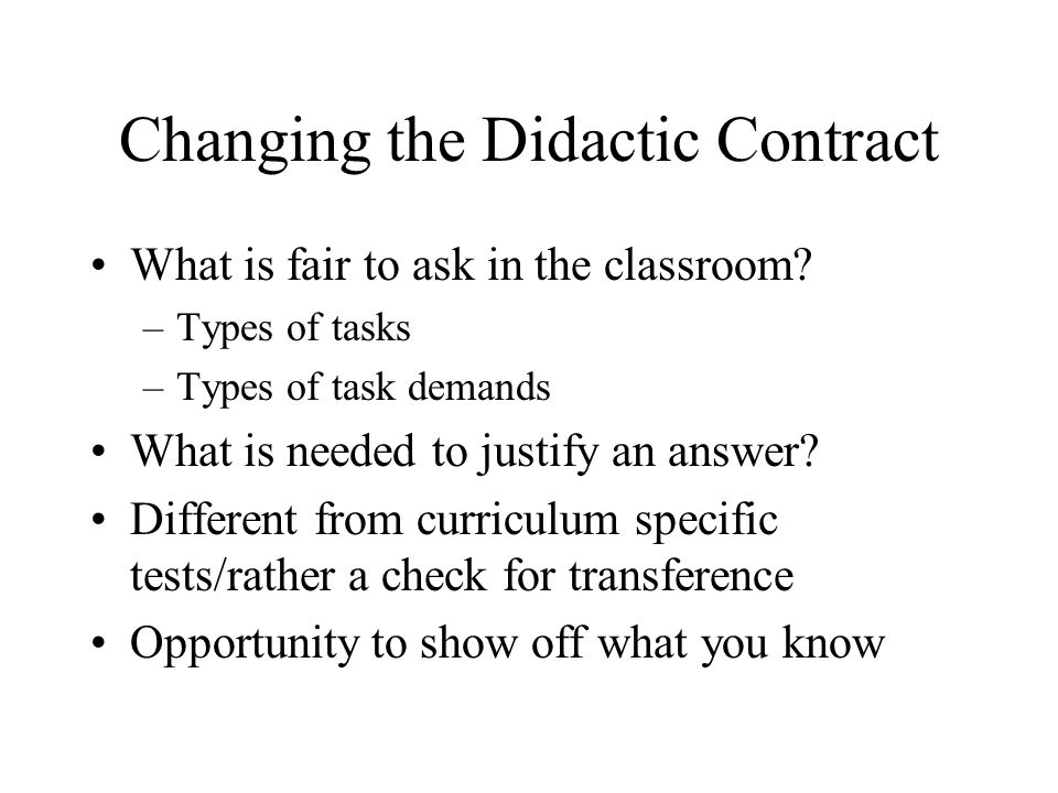 Changing the Didactic Contract