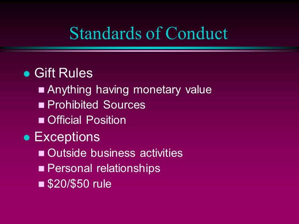 Standards of Conduct Gift Rules Exceptions