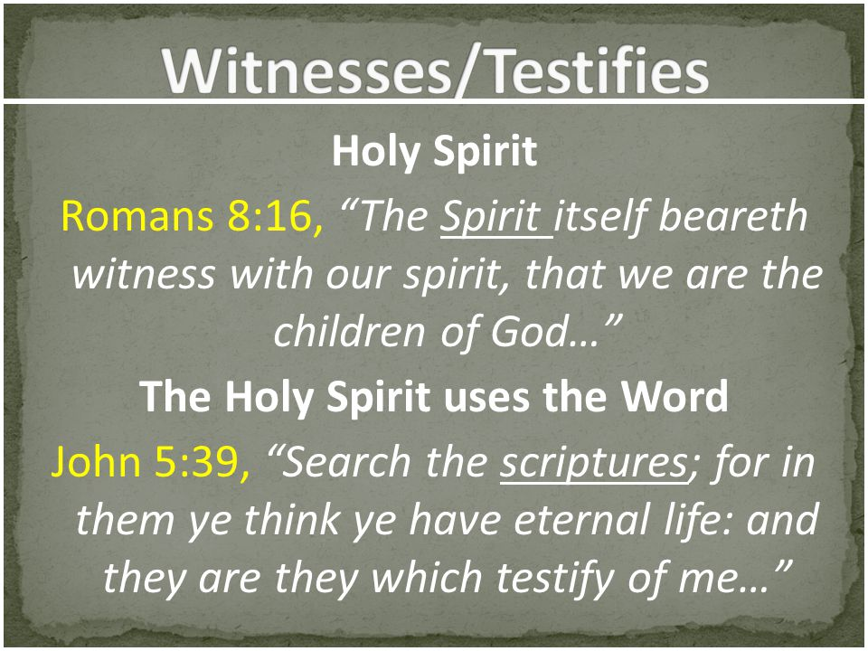 Witnesses/Testifies