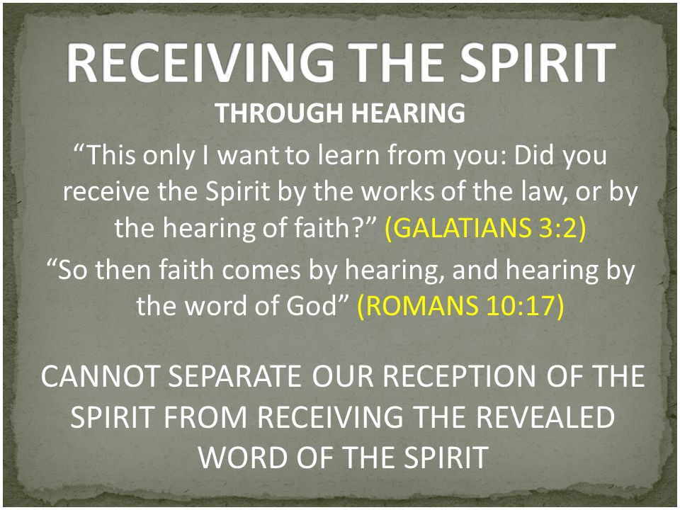 RECEIVING THE SPIRIT