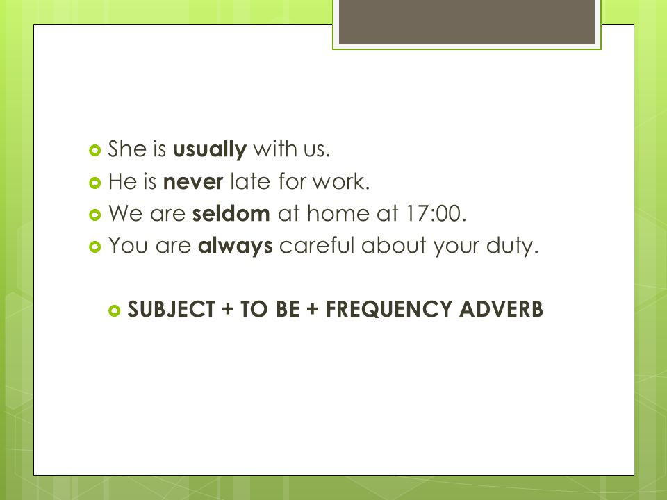 SUBJECT + TO BE + FREQUENCY ADVERB