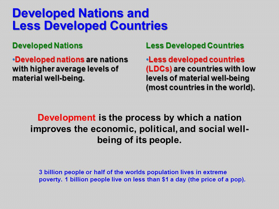 Developed Nations and Less Developed Countries