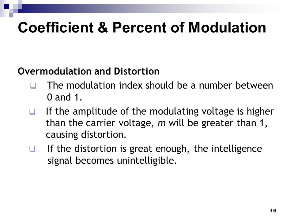 Coefficient & Percent of Modulation