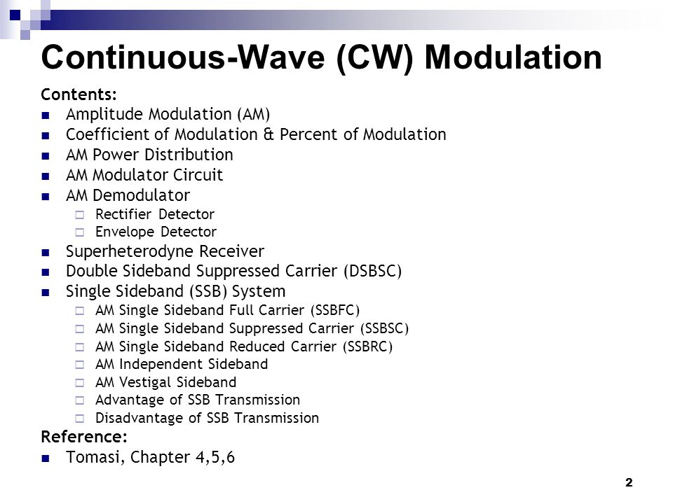 Continuous-Wave (CW) Modulation