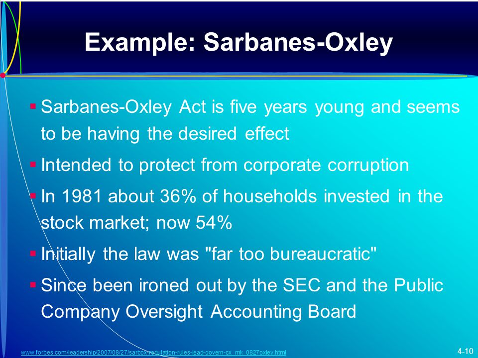 Example: Sarbanes-Oxley