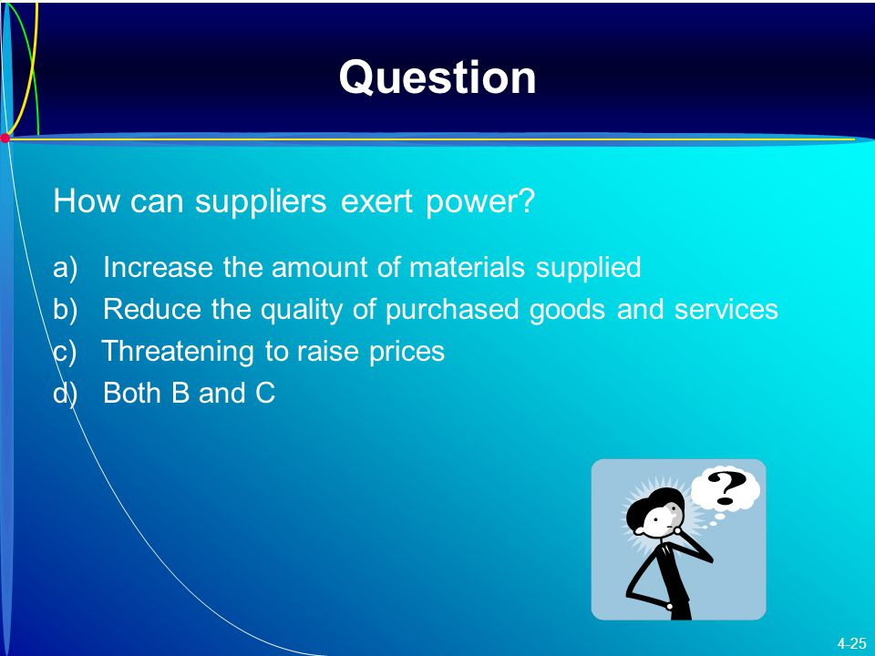 Question How can suppliers exert power