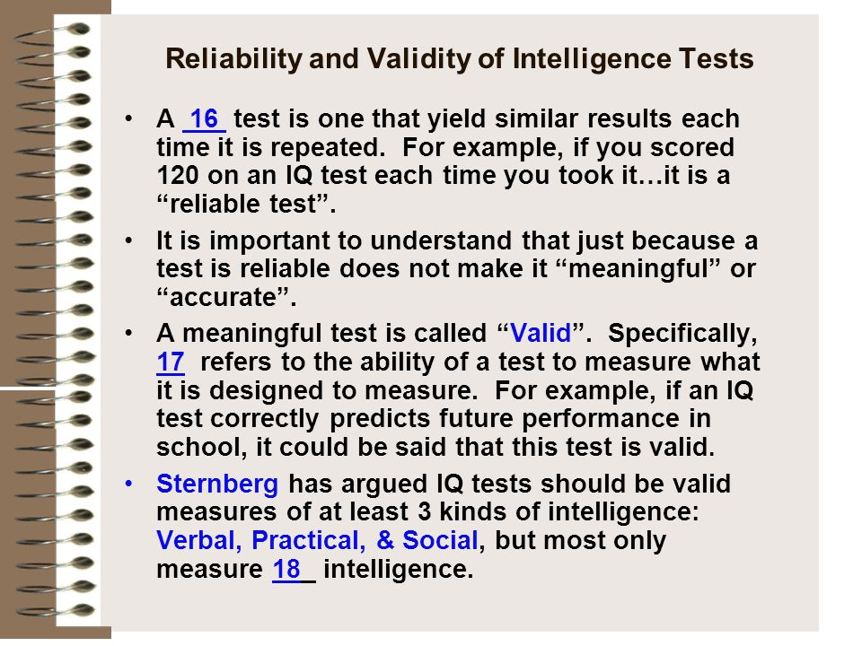 Reliability and Validity of Intelligence Tests
