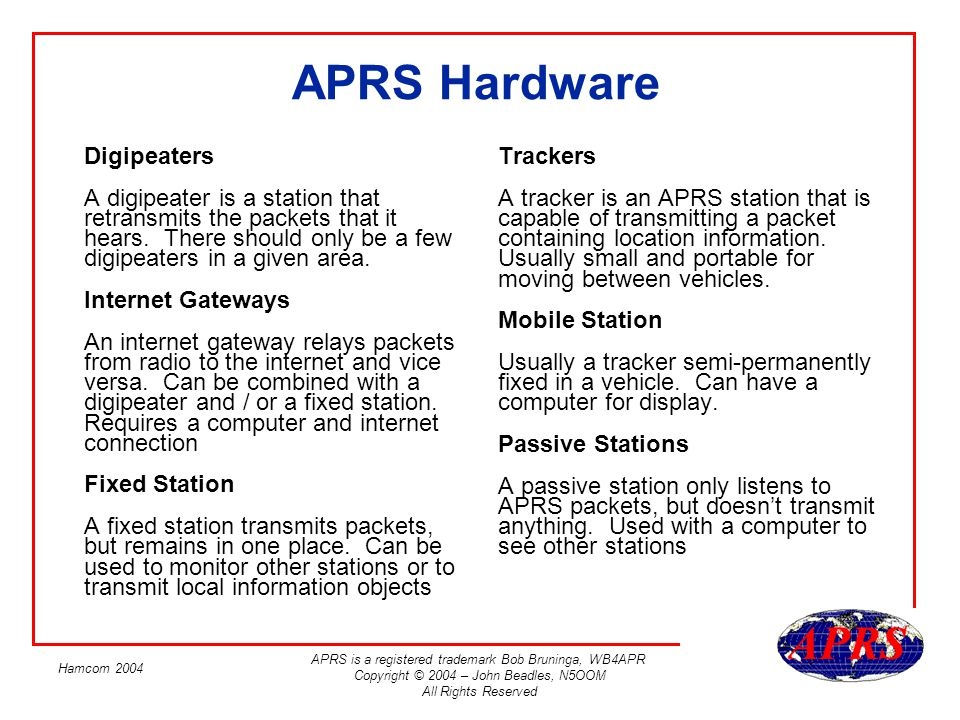 Introduction to APRS John Beadles, N5OOM Hamcom ppt video online