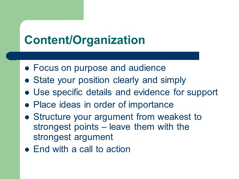 PERSUASIVE WRITING How well can you organize and express your ideas ...