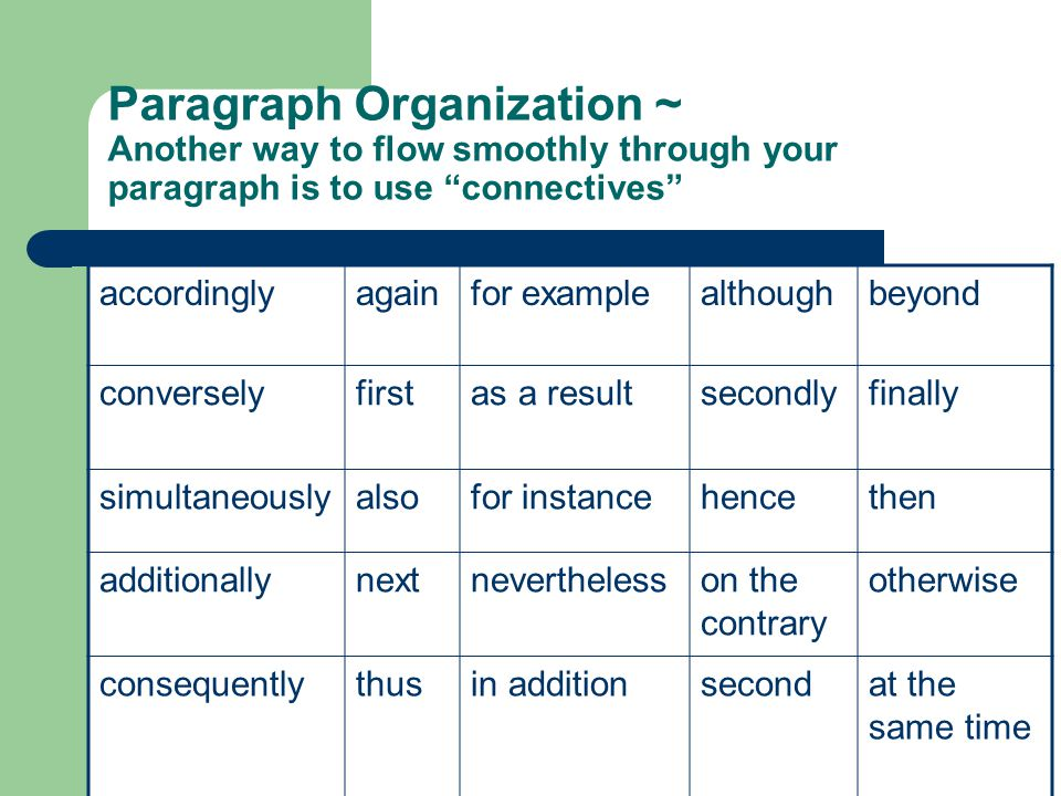 Paragraph Organization ~ Another way to flow smoothly through your paragraph is to use connectives