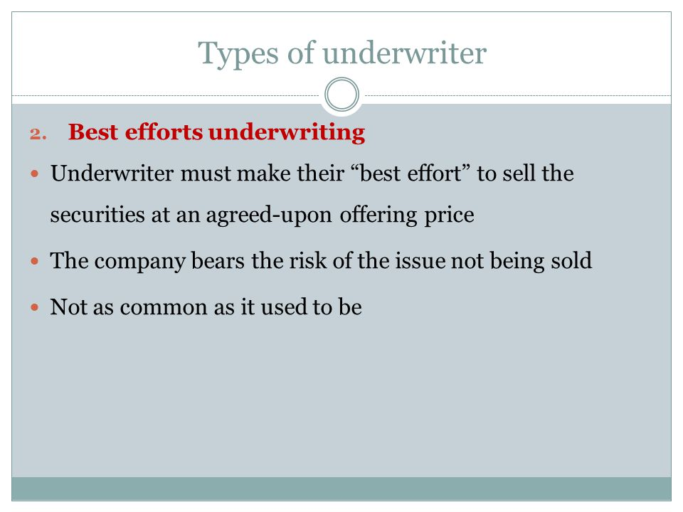 Types of underwriter Best efforts underwriting