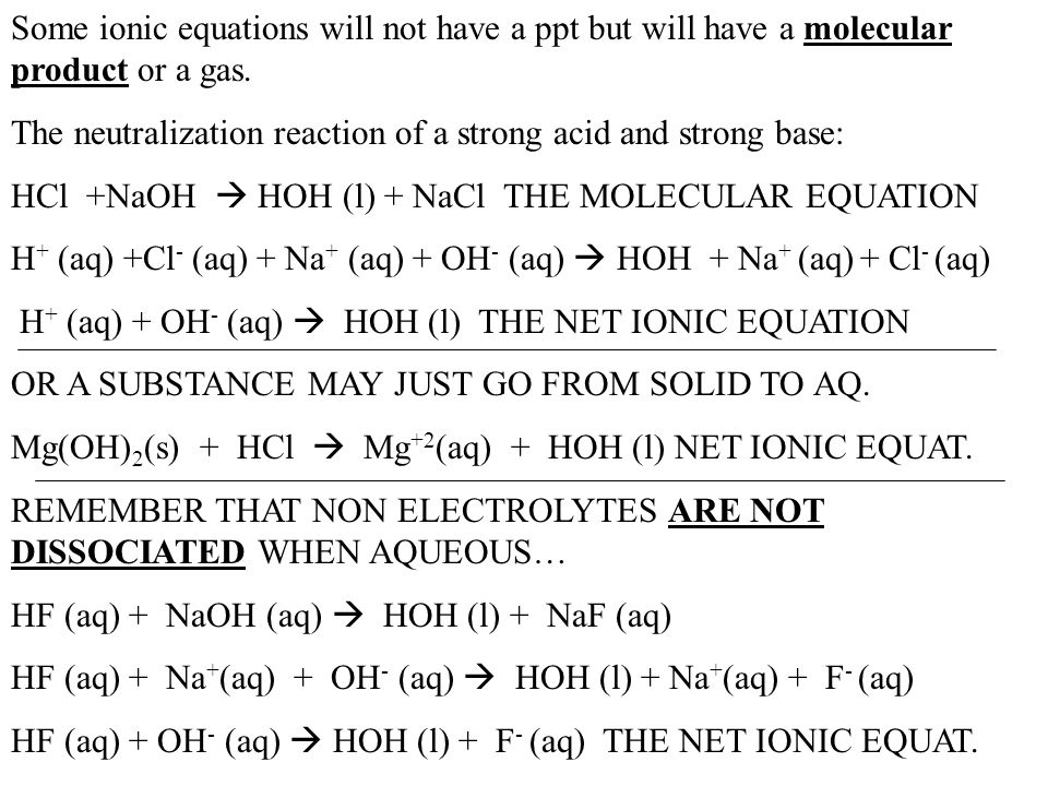 Some ionic equations will not have a ppt but will have a molecular product or a gas.