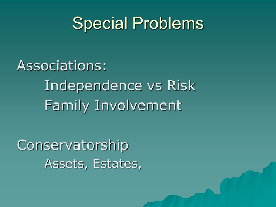 Special Problems Associations: Independence vs Risk Family Involvement