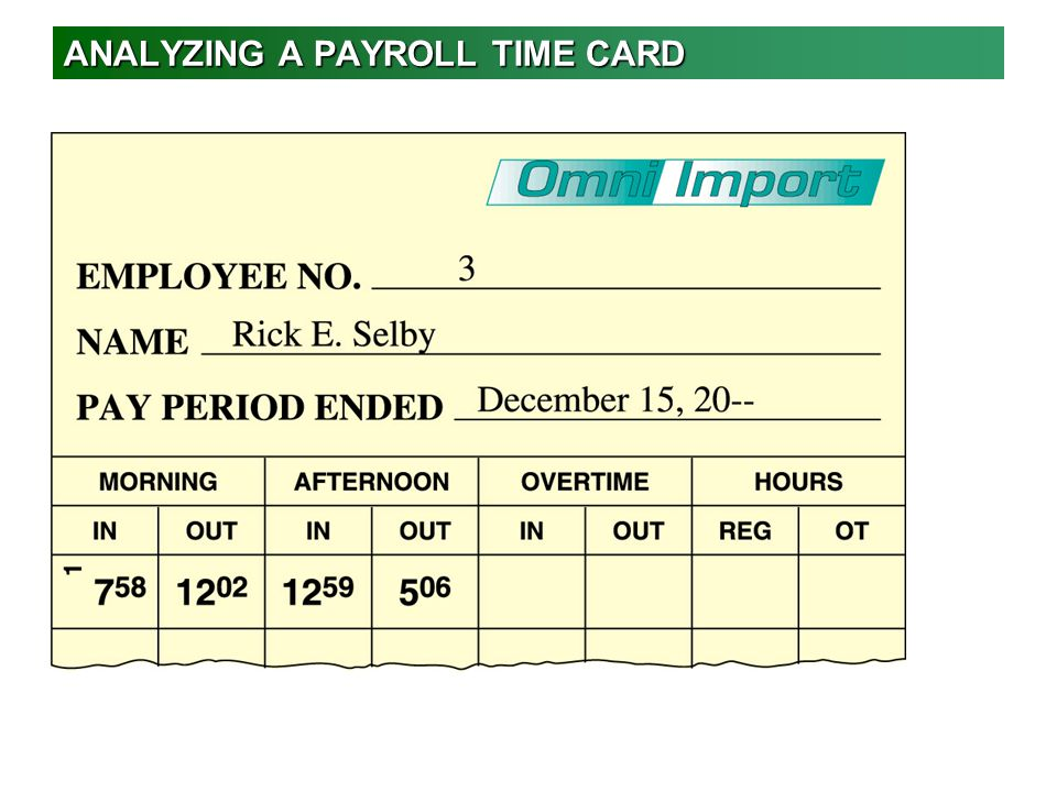 ANALYZING A PAYROLL TIME CARD