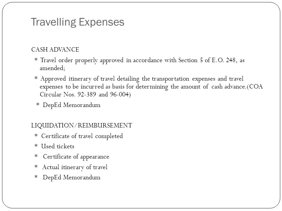 Liquidation Of Cash Advance For Travel