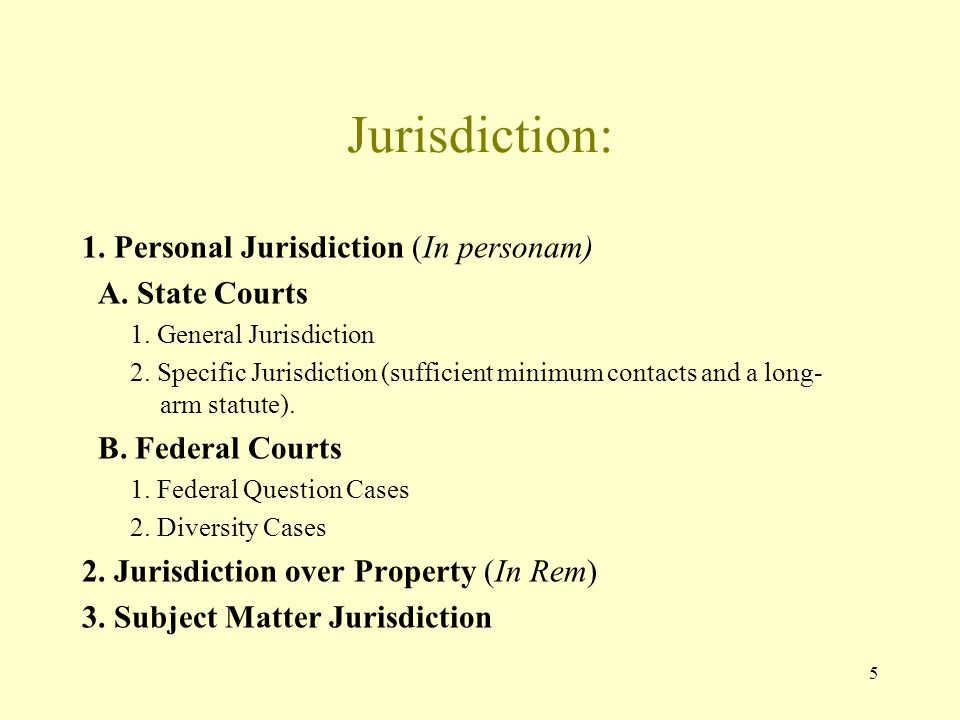 Jurisdiction: 1. Personal Jurisdiction (In personam) A. State Courts