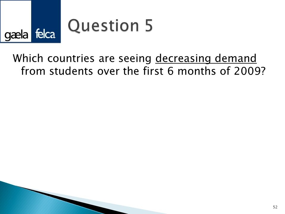 Question 5 Which countries are seeing decreasing demand from students over the first 6 months of 2009