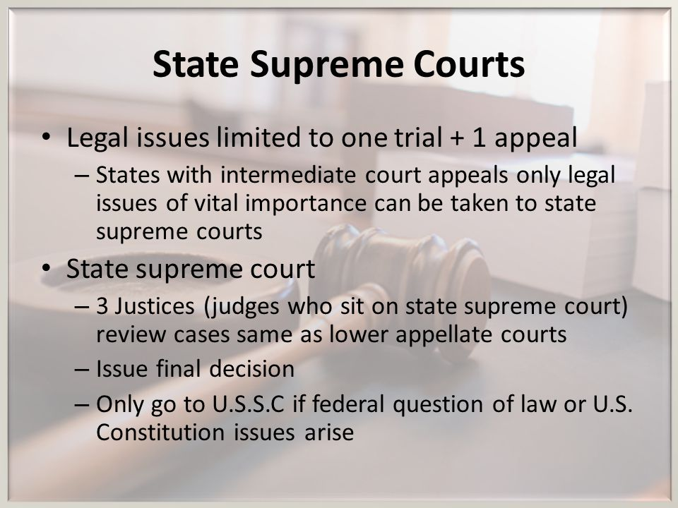 State Supreme Courts Legal issues limited to one trial + 1 appeal